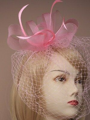 NEW Pink Looped net and feather with face netting fascinator wedding races ascot