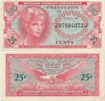 Military Payment Certificate 25 Cents,Series 641 Choice Extra Fine,Cat#M59