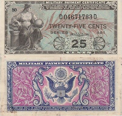 Military Payment Certificate 25 Cents,1951-54 Series 481 Extra Fine Condition