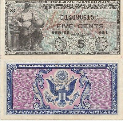 Military Payment Certificate 5 Cents,1951-54 Series 481 Extra Fine Condition