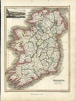 Ireland w/ Giants Causeway view 1819 Wyld Thomson Hewitt antique map decorative