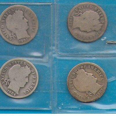 (4) Barber Dimes, silver, 1912D, 1907, 1907O, 1906, circulated