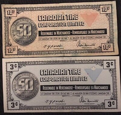 Canada Canadian Tire Store Money (1) x 5 cents, (3) x 10 cents Vintage