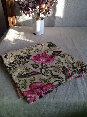 """Vintage French Fabric, Pink Green & White Cotton 49"""" x 72"""" - Furnishing Projects"""