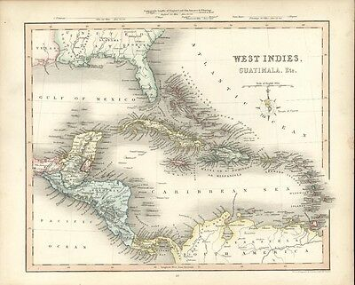 West Indies Caribbean Cuba Bahamas Hispaniola 1848 antique Gilbert Archer map