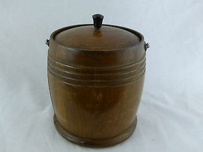 antique biscuit cracker jar treenware porcelain insert humidor barrel