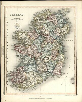 Ireland decorative Gilbert Archer 1848 uncommon antique old hand color map