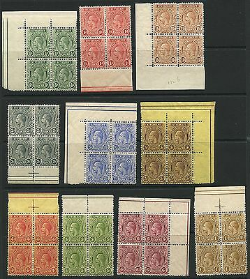 St Vincent 1921 KGV issue Plate and Regular Blocks of 3 Sc #118-128 ml/nh