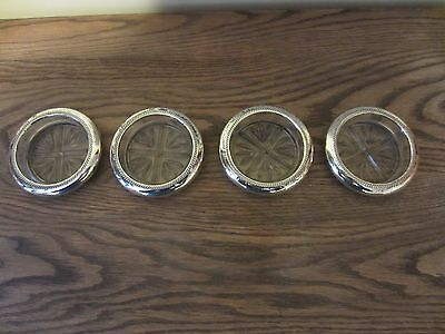 Set of 4 Vintage FB Rogers Sterling Silver Glass Wine Coasters Rose Cross