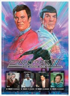St Vincent 2010 Star Trek IV 4 Stamp Sheet Scott 3727 19J-050