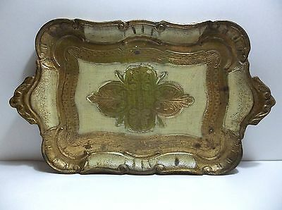 "Vintage Italian Florentine Toleware Wood Serving Tray 14.5"" Gold CREAM Green"