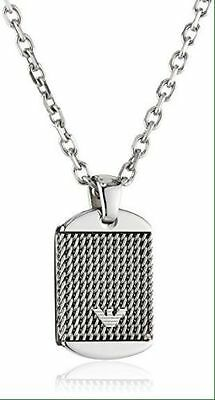 Emporio Armani EGS1799040 Men's Silver Stainless Steel Dog Tag  2.5cm FREE P+P
