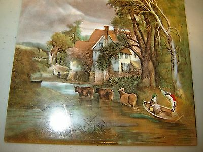 Vintage GERMAN tile Victorian farm with cows  Outdoor Scene~