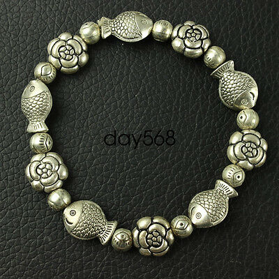 Chinese collection old Tibetan silver amulet Fish and flowers Bracelet LJQ15