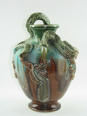 "14"" Antique AWAJI Pottery Vase W/ Dragons/ Serpents Japan RARE Japanese Vintage"