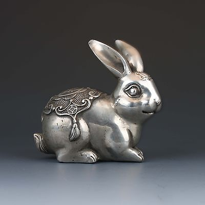 Chinese Tibetan silver Hand-Carved Rabbit Statue Qing Dynasty Mark  gd5635