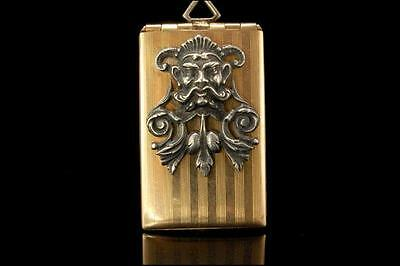 Antique Victorian Devil Face Sterling Gold Filled Stamp Case  (010317023)