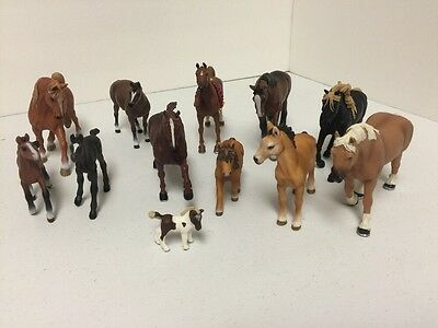 Schleich and Safari Ltd Lot of (12) Animal Figures Horses FREE Shipping