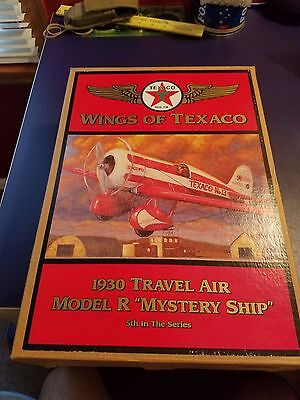 """Wings of Texaco 1930 Travel Air Model R """"Mystery Ship"""" Die Cast Coin Bank"""