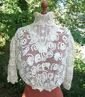 Exquisite Edwardian Antique Hand Made Irish Crochet Lace Blouse Top Extra Fabric
