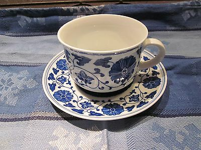 Vtg Hand Painted Blue White Asain Floral Pattern Cup, Saucer Marked