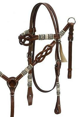 Showman Celtic Knot Headstall & Breast Collar W/ Rawhide Braided Accents! TACK!