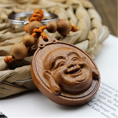 Wood Carving Chinese Happy Maitreya Buddha Head Sculpture Pendant Key Chain
