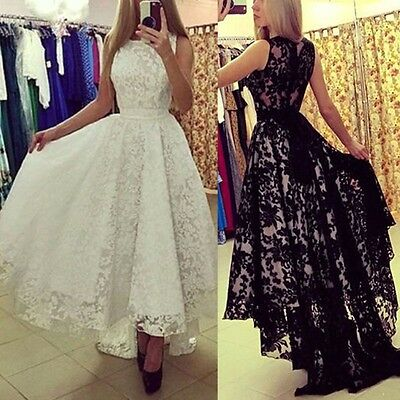 Women Long Lace Formal Dress Prom Evening Party Cocktail Bridesmaid Wedding Gown