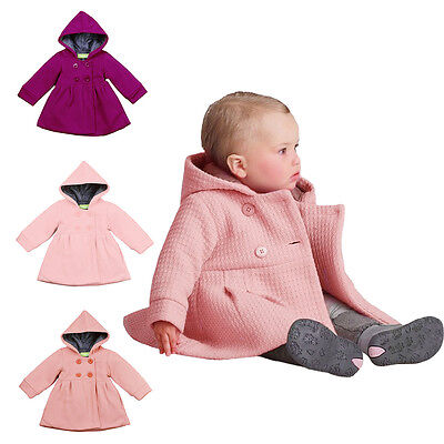 Kid Toddler Baby Girl Hooded Trench Coat Wind Jacket Winter Outwear Clothes 1-3T
