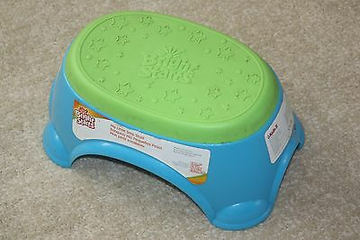 Bright Starts Step Stool Oval Turquoise Blue / Lime Green EUC