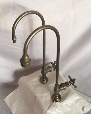 Pr Antique Nickel Brass  Goose neck Old Vtg Haydenville Sink Faucets 88-17J