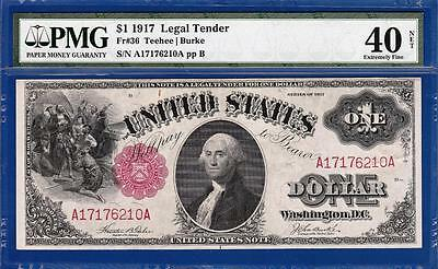 1917 $1 Red Seal Legal Tender Note - Certified PMG Extremely Fine XF 40NET - C2C