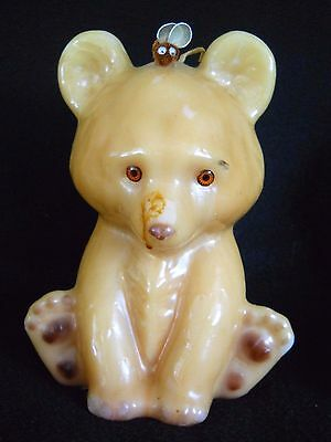 Large Vintage 8 1/2 ' Teddy Bear with Bee on nose Candle /over 3 # of wax/Unused