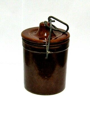 "5 1/4"" Brown Glaze Stoneware Crock W/Locking Lid Wire."
