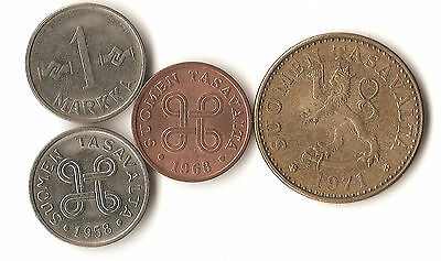 Four coins from Finland, 1 markka, 1 penni, 20 penni, dated 1957- 1971