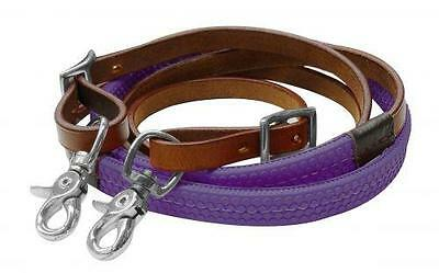 Showman 7ft PURPLE Rubber Grip Barrel Racing Reins! NEW HORSE TACK!