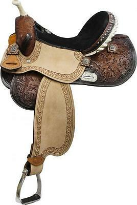 "NEW 14"" Double T Barrel Saddle with Barrel Racer Conchos! BLACK Suede Seat!"