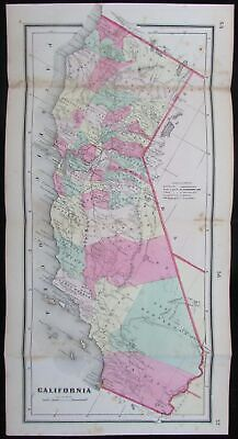 California state 1865 scarce reduced format Colton antique map