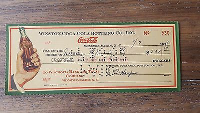 COCA-COLA Check From the Winston NC Coke Bottling Co. VINTAGE 1930s