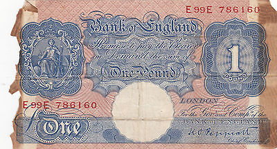 Great Britain 1940's 1 Pound signature Peppiatt # E99E 786160