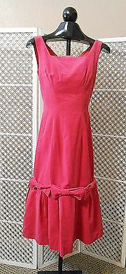 Vintage 1950's - 1960's  Candy Jrs. HOT PINK Velvet Sleeveless Dress Small