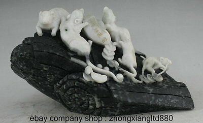 """13"""" Chinese Dushan Jade Carved Folk Zodiac Animal Mouse Mice Wealth Coins Statue"""