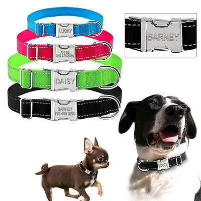 Reflective Personalized Dog Collar Engraved Metal Buckle Doggie Name Collar