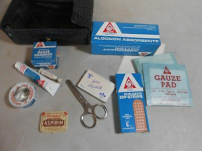 Vintage First Aid Kit with Acme Items, Vinyl Case, and Certified Aspirin Tin