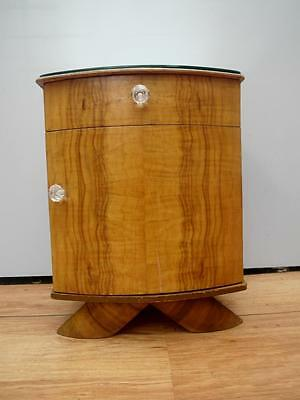 Vintage RETRO Art DECO MIRRORED Top TIMBER Bedside CUPBOARD Table CABINET QZZQ