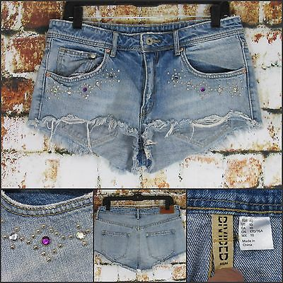 H&M Divided Women Bedazzled HIGH Waist Cut Off Distressed Jean Booty Shorts 10