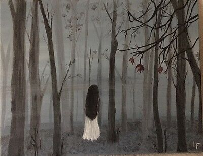 New Original 16 x 20 Painting on Canvas  Imagine In Misty Woods Gothic Surreal