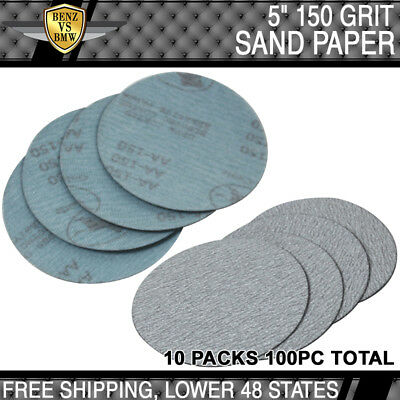 100PC 5Inch Dry 150 Grit Auto Sand Disc No Hole Sandpaper Sheet Sand Paper PSA