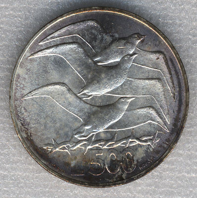 San Marino 500 Lire 1975 Seagulls flying over wire - Freedom Silver 29.3mm