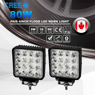 2x4'' INCH 80W CREE LED Work Light Bar Flood Lamp SUV Truck Offroad Driving 24V